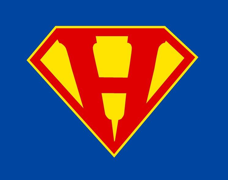superhero logo with capital H in the center