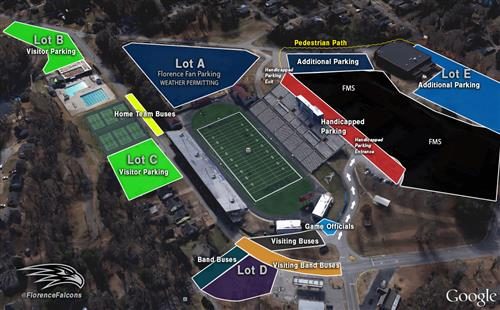 Google Earth view of Braly Stadium with parking lots identified.