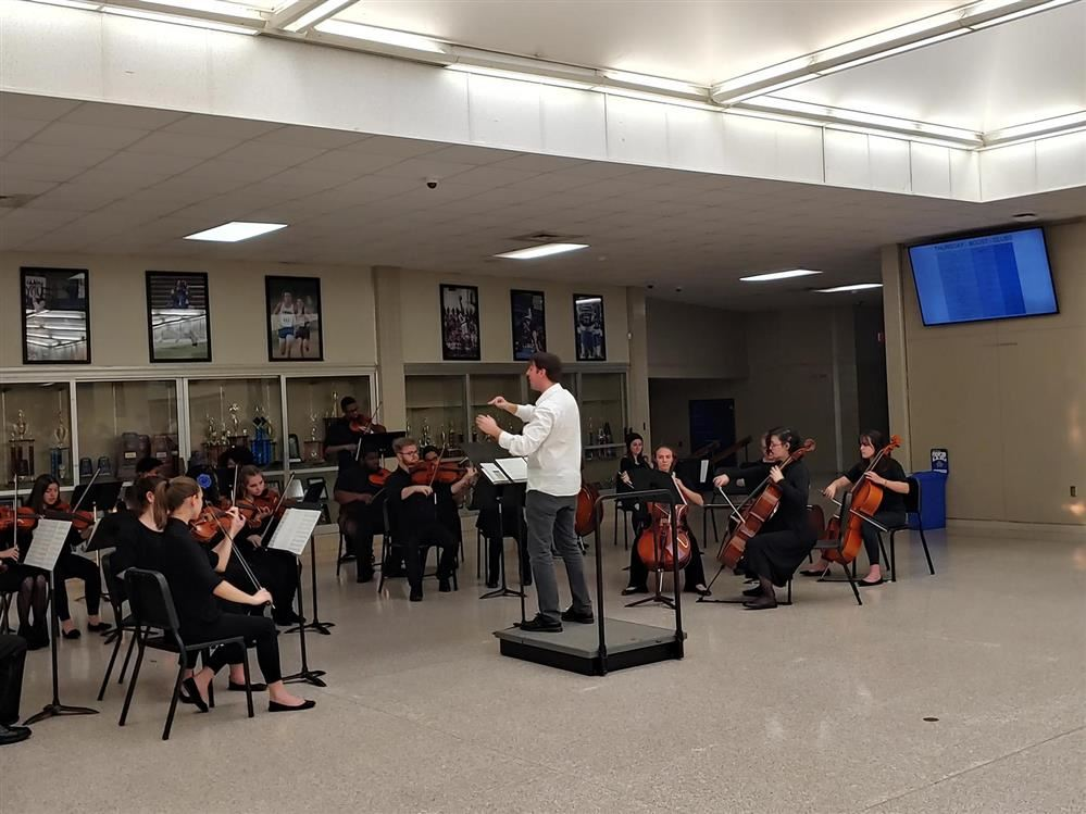 Students in strings practice.